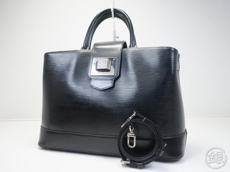 authentic pre owned louis vuitton epi black noir mirabeau gm hand bag w long strap m40472. Black Bedroom Furniture Sets. Home Design Ideas