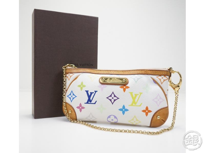 AUTHENTIC PRE-OWNED LOUIS VUITTON MONOGRAM MULTI COLOR WHITE POCHETTE MILLA  MM CHAIN POUCH BAG M60096 cdfb95b9ea0cf