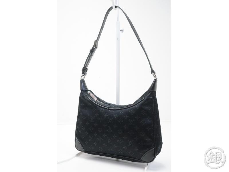 AUTHENTIC PRE-OWNED LOUIS VUITTON LV MONOGRAM SATIN LITTLE BOULOGNE BLACK  EVENING BAG PURSE M92142 a20ac985d44b8