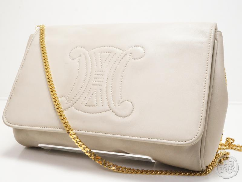 AUTHENTIC PRE-OWNED CELINE LOGO BAG BEIGE LEATHER GOLD CHAIN MESSENGER  CROSSBODY BAG CLUTCH 2-WAY ITALY M08 6962e4168f95d
