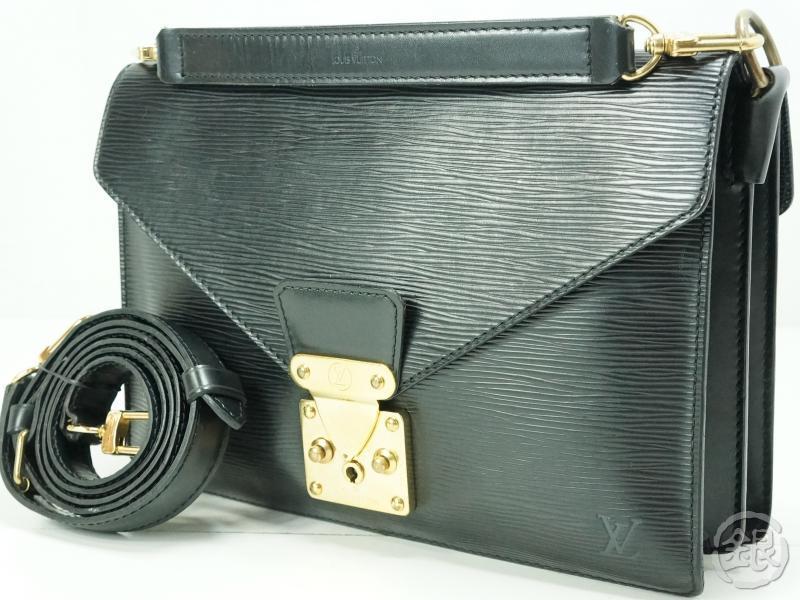 Authentic Pre Owned Louis Vuitton Lv Epi Black Biface Shoulder Handbag Bag W Strap M52322