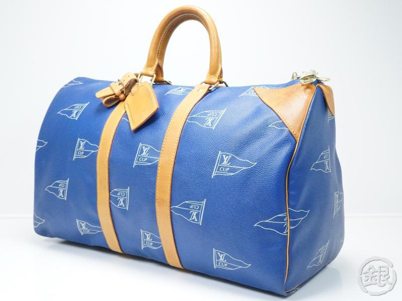 Authentic Pre Owned Louis Vuitton Blue Cup Keepall 45 Travel Boston Bag M80014
