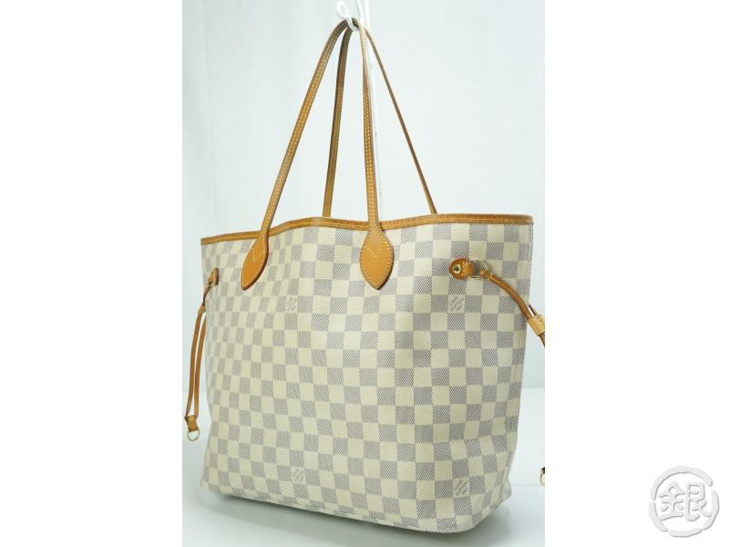 Authentic Pre Owned Louis Vuitton Damier Azur Neverfull Mm Shoulder Tote Bag