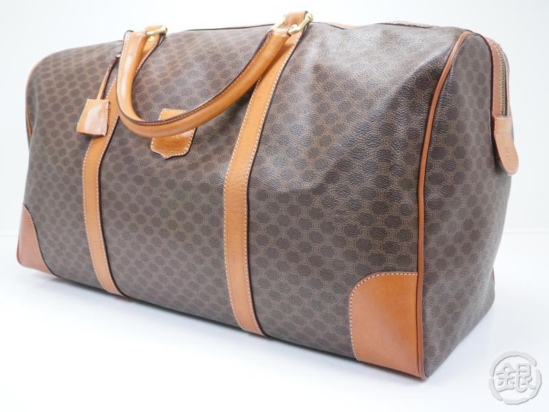 56e88ffc8564 AUTHENTIC PRE-OWNED CELINE BROWN LOGO MACADAM LARGE TRAVEL BAG BOSTON BAG  ITALY JMB12