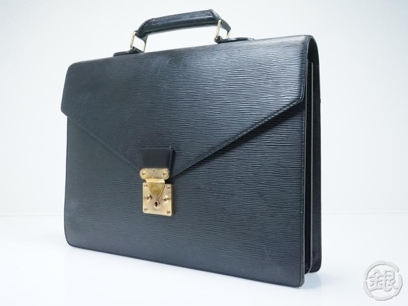 20692eab4f16 AUTHENTIC PRE-OWNED LOUIS VUITTON EPI BLACK NOIR SERVIETTE CONSEILLER  BRIEFCASE BAG M54422