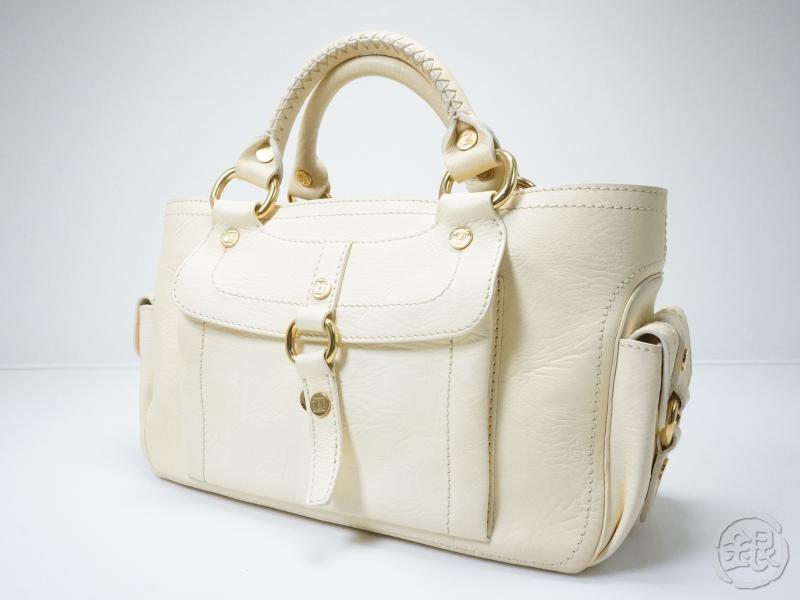 AUTHENTIC PRE-OWNED CELINE CREAM LEATHER BOOGIE HAND BAG PURSE ...