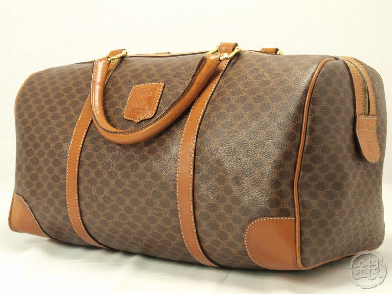 handbags celine - AUTHENTIC CELINE PARIS BROWN LOGO MACADAM BOSTON BAG PURSE 111032 ...
