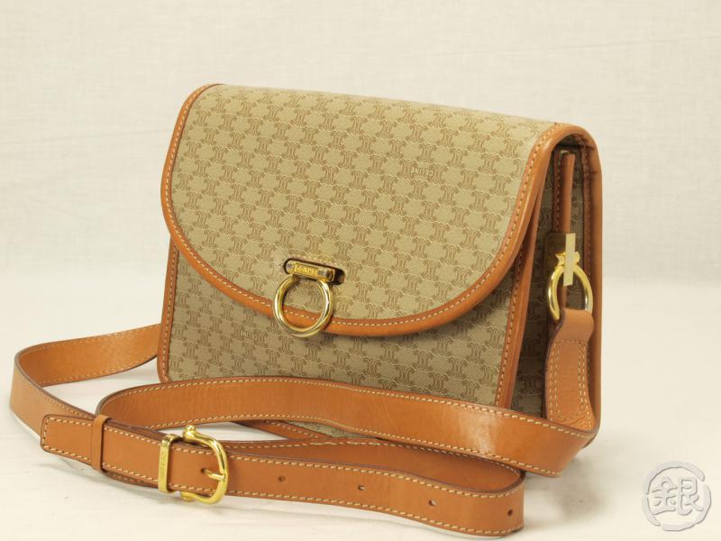 Authentic Celine Paris Beige Logo Macadam Shoulder Bag Purse