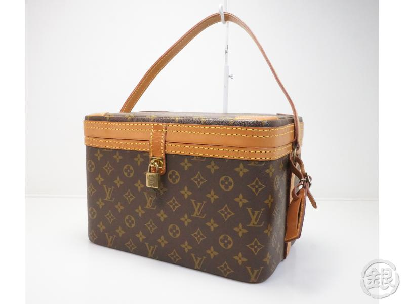 ecfe0f47ce69 Authentic Pre Owned Louis Vuitton Vintage Monogram Train Case Makeup Vanity  Bag Traveling Hand No 198