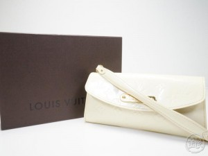 AUTHENTIC PRE-OWNED LOUIS VUITTON VERNIS PERLE PEARL WHITE SUNSET BOULEVARD  HAND BAG CLUTCH BAG PURSE M93541 151934 a4b5915480117